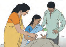 Three persons greeting newborn baby