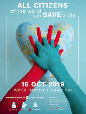 A posters that says All citizens of the world can save a life 16 october 2019